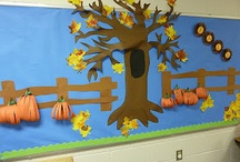 Bulletin Boards / Background paper should be put up only once a year. Choose colors that can go with many themes and holidays. A black butcher paper background will look terrific with springtime butterflies or a spooky Halloween display. Just staple in place. Change the board monthly.  / by Alicia Eyer