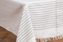 Tovaglie / Tovaglie in puro lino e cotone lavorato al telaio di legno