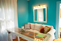 HDD Studios Portfolio:  Funky Vintage Living Room / Vintage looking, eclectic living room with flare! Custom built table, media cabinet and dresser drawer shadow boxes all created by HDD Studios / by HDD Studios