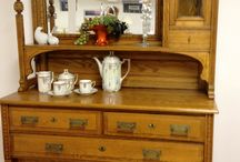 For sale: Arts & Crafts Antique Dining Buffet Sideboard w/ Mirror, Table / This set was an 1860 wedding gift to my friend's mother. My friend was 92 when she died and handed the table, sideboard, and 4 chairs to me.  / by Michelle Damico
