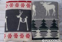 Vianočné deky / Christmas blankets / Vlnené deky s Vianočným motívom z ovčej a jahňacej vlny.