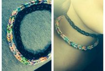 """Choker necklaces<3 / Fiahtail: how to make a fishtail rainbow loom bracelet (youtube) from (Ashley Steph)  (""""Black one""""): DIY: Loom Band Chokers by (frankie) in youtube."""