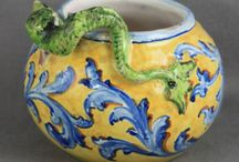 """Maiolica with an """"I"""" / One of Victorian Majolica's primary sources is the maiolica of the Mediterranean, especially the work of the Della Robbia potters (see our Della Robbia Board). Most  Maiolica has a smooth body, and its flat surfaces are hand decorated in pigment over a white tin glaze. A successful design can survive in production indefinitely, making dating difficult.There is confusion about the difference between Majolica and Maiolica, and the two words are sometimes used interchangeably."""