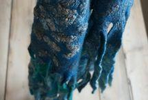 Wool felted shawl and scarfs / Slow fashion. Natural wool hanmade felted scarfs and shawl.