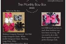 The Monthly Bow Box / 5 Hairbows Each Month! The Monthly Bow Box is a fun way to get 5 new hairbows each month, to your door without  having to decide what to order- for an affordable price. You will get all sorts of styles, colors, sizes and ribbon types.