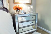 Mirrored dresser / Bedside Table organization