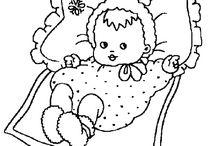 Coloriages naissance et bébés / Plusieurs images à colorier représentant le monde des petits bébés. Les cigognes porteuses de nouveaux nés seront aussi au rendez-vous !