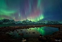 Northern lights / Photographs of Northern and Southern lights. Aurora Borealis.