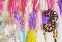Tassel / Tassel garland, foil balloon number 3, balloons with confetti