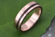 Rose Gold Wedding Rings / Handmade wood wedding rings featuring ecofriendly 100% recycled rose gold, also known as pink gold or red gold.