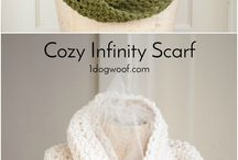 crochet scarves and mittens