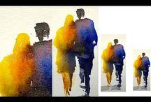Watercolour figures