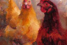 Kippen schilderij
