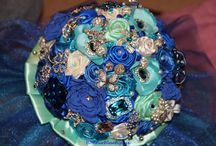 wedding bouquet / Blue and white satin flowers and tulle wedding bouquet! Shipping worldwide!
