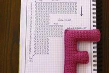 アルファベットと数字の編み図