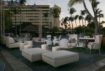 Pool Deck Venue / Tropical, Beach, Wedding, Destination, Bridal, Bouquet, Centerpiece, Decor, Setup, Boutonniere, Flower, Corsage, Ocean, Sunset, Aruba, Hyatt, Newlywed, Beach, Ideas, Pool, Venue, Location,