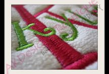 Embroidery Fonts and Monograms by AKDesigns Boutique / Machine Embroidery Fonts and Monograms - some with fill stitch, some applique and some satin stitch - all fun!