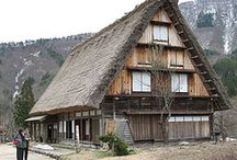Takayama / Beautiful traditional town in the west part of Japan, farm houses with thached roofs are UNESCO World Heritage site.