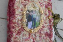 livre textile, feutré, et mixed-media pour des noces d'or / Noces d'or