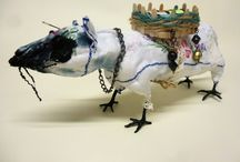 Textile Animal Sculptures - Fairy Tales and Nightmares / A company of weird and wonderful creatures with their own stories, all made from scraps and oddments by Barbara Melling