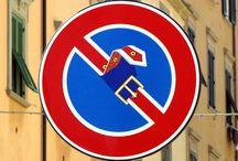 Street art on traffic signs