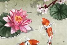koi fish painting flower