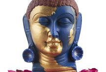 Buddha Head in Gold and ink Blue