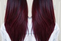 Burgundy brown hairstyle