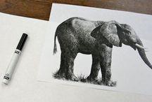 Ink Elepant Art Lesson