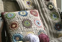 Muted colours crocheted pillow cover / Mute colour with colourful flowers cushion