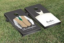 "Saying ""I Do"" / Fall in love with our beautiful wedding themed cornhole games, perfect for your special day. We are the manufacturer so buy direct for the best pricing and a no-hassle experience so you can concentrate on whats important for your wedding! We specialize in custom, made to order cornhole games, custom bags, and tight deadlines."