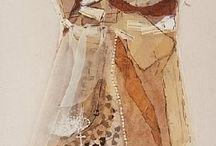 kumaş,  dantel,  tül  ve kağıtla tasarım elbiseler