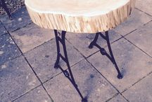 'Real wood 'Outside table / Large Fur tree log planed,sanded and varnished,fixed to some restored cast iron legs