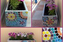 maceteros de mosaico