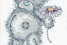 Tatty Teddy (cross stitch + crochet)