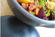 Carne seca com legumes + Salada de acelga, brócolis e tomate cereja