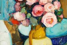 Kwiaty w wazonie / malarstwo