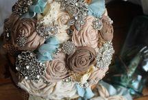 bouquets roses en tissu