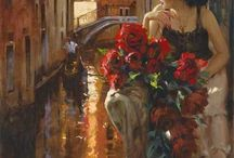 Richard S. Johnson / Beautiful girls in beautiful dress, with beautiful flowers
