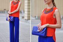 conjunto azul e laranjado