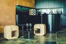 Kartoons in Golf Čertovo Břemeno / Beautiful building and kartoons cardboard furniture