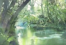 Watercolours river scenes