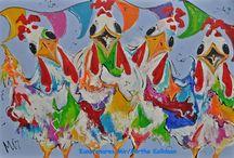 Schilderijen  Kippen/Chicken Kunstenares  Mir Mirthe Kolkman / Veelzijdig kleurrijk kunstenares Mir/ Mirthe Kolkman waaronder kippen dieren. kip chickens kippenkunst kippenschilderij picknick grappige kippen kippenkunst art kunstwerk van een kip wijn gezellige kippen funny chickens