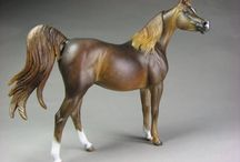Jezebel / Stablemate scale Arabian mare sculpted by Sarah Rose www.rosehorse.com  painted by various artists