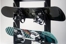 Snowboards and Ski as Decor