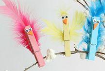 Oiseaux avec pinces à linge