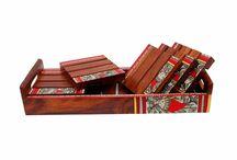 Set of Six Warli Work Coasters with Ethnic Tray