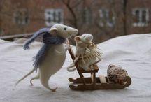 Muis van vilt / Lieve foto's van een vilten muisje