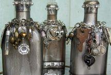 Altered Art / Altered art, bottles, tin cans, jars, books, upcycled