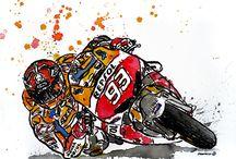MM93 - Marc Màrquez / Watercolour+ink about new motoGP champion
